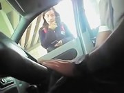 Man in the car frightened amateur with cock flashing