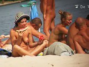 Sexy, all natural babes and their boyfriends at the nudist beach