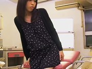 Cute Jap filled to the top in voyeur medical fetish video