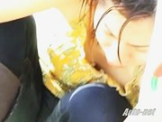 Asian girl cleans her feet in public downblouse voyeur video